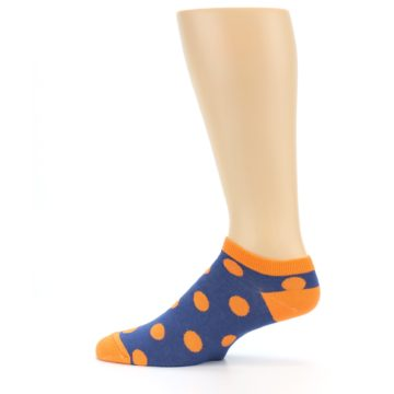 Image of Blue Orange Polka Dot Men's Ankle Socks (side-2-12)