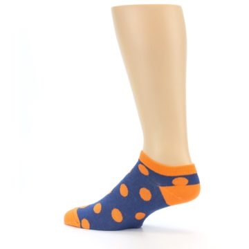 Image of Blue Orange Polka Dot Men's Ankle Socks (side-2-13)