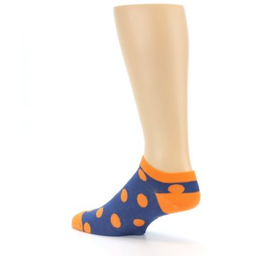 Image of Blue Orange Polka Dot Men's Ankle Socks (side-2-back-14)