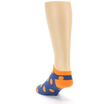 Image of Blue Orange Polka Dot Men's Ankle Socks (side-2-back-16)