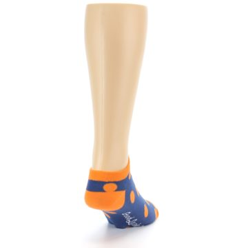 Image of Blue Orange Polka Dot Men's Ankle Socks (side-1-back-20)