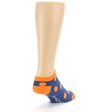 Image of Blue Orange Polka Dot Men's Ankle Socks (side-1-back-21)