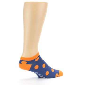Image of Blue Orange Polka Dot Men's Ankle Socks (side-1-23)