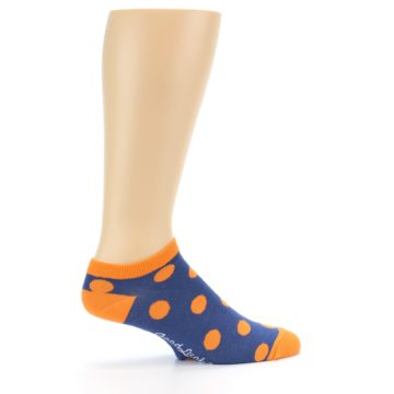 Image of Blue Orange Polka Dot Men's Ankle Socks (side-1-24)