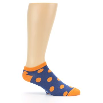 Image of Blue Orange Polka Dot Men's Ankle Socks (side-1-25)
