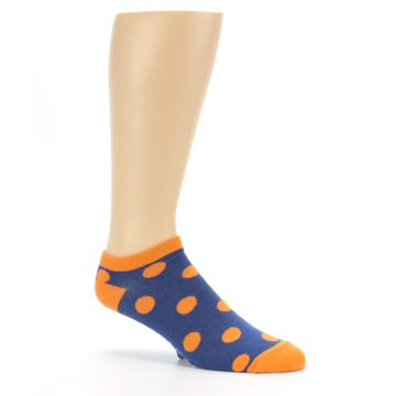 Image of Blue Orange Polka Dot Men's Ankle Socks (side-1-26)
