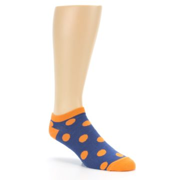 Image of Blue Orange Polka Dot Men's Ankle Socks (side-1-27)