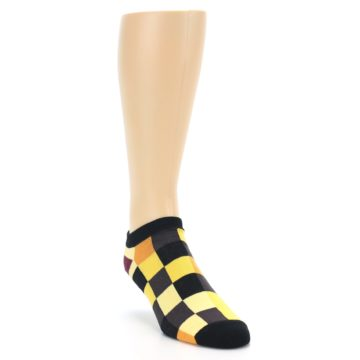 Image of Yellow Black Checkered Men's Ankle Socks (side-1-front-02)
