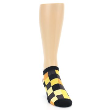 Image of Yellow Black Checkered Men's Ankle Socks (side-1-front-03)