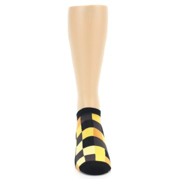 Image of Yellow Black Checkered Men's Ankle Socks (front-04)