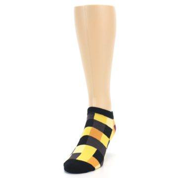 Image of Yellow Black Checkered Men's Ankle Socks (side-2-front-06)