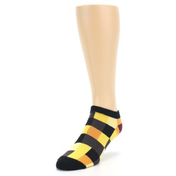 Image of Yellow Black Checkered Men's Ankle Socks (side-2-front-07)