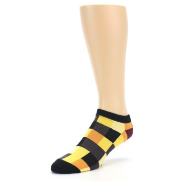 Image of Yellow Black Checkered Men's Ankle Socks (side-2-front-08)