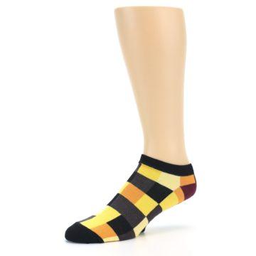 Image of Yellow Black Checkered Men's Ankle Socks (side-2-09)