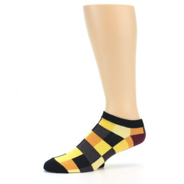 Image of Yellow Black Checkered Men's Ankle Socks (side-2-10)