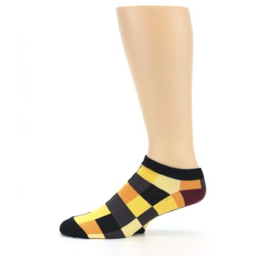 Image of Yellow Black Checkered Men's Ankle Socks (side-2-11)