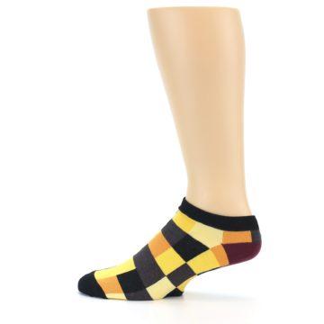 Image of Yellow Black Checkered Men's Ankle Socks (side-2-12)