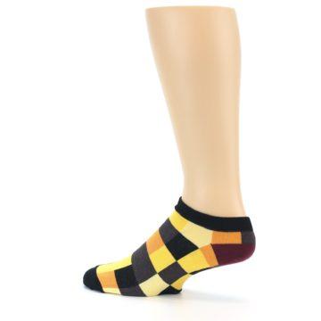 Image of Yellow Black Checkered Men's Ankle Socks (side-2-13)