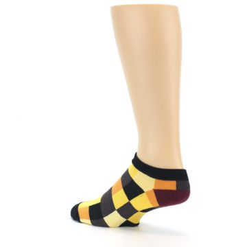 Image of Yellow Black Checkered Men's Ankle Socks (side-2-back-14)