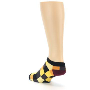 Image of Yellow Black Checkered Men's Ankle Socks (side-2-back-15)