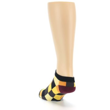 Image of Yellow Black Checkered Men's Ankle Socks (side-2-back-16)