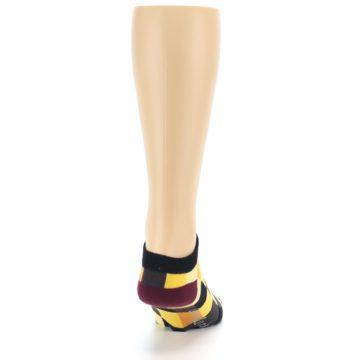 Image of Yellow Black Checkered Men's Ankle Socks (back-19)