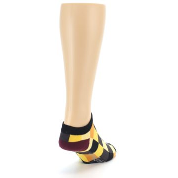 Image of Yellow Black Checkered Men's Ankle Socks (side-1-back-20)