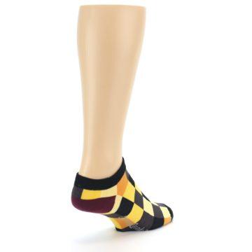 Image of Yellow Black Checkered Men's Ankle Socks (side-1-back-21)