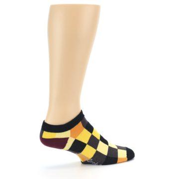 Image of Yellow Black Checkered Men's Ankle Socks (side-1-23)