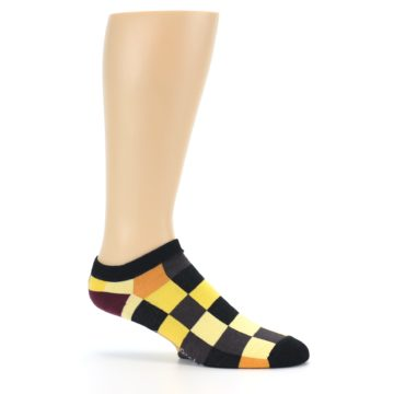 Image of Yellow Black Checkered Men's Ankle Socks (side-1-25)