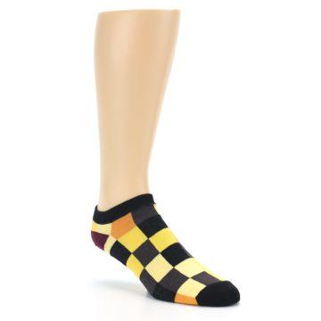 Image of Yellow Black Checkered Men's Ankle Socks (side-1-27)