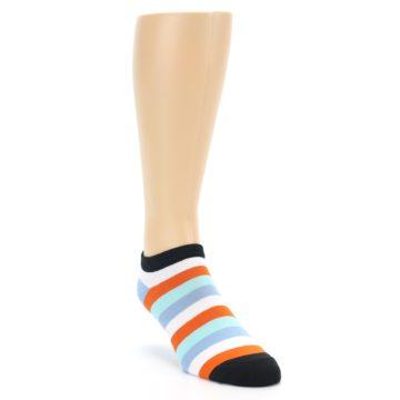 Image of Orange Blues Stripe Men's Ankle Socks (side-1-front-02)