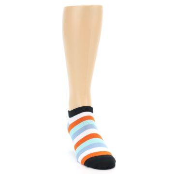 Image of Orange Blues Stripe Men's Ankle Socks (side-1-front-03)