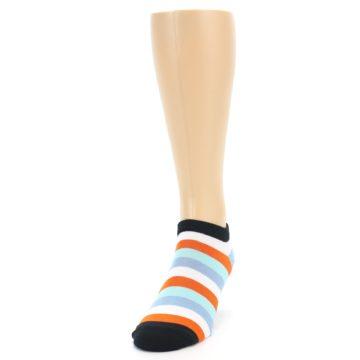 Image of Orange Blues Stripe Men's Ankle Socks (side-2-front-06)