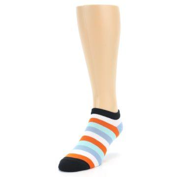 Image of Orange Blues Stripe Men's Ankle Socks (side-2-front-07)