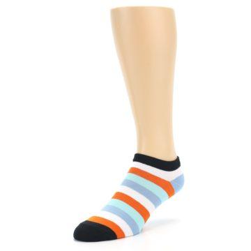 Image of Orange Blues Stripe Men's Ankle Socks (side-2-front-08)