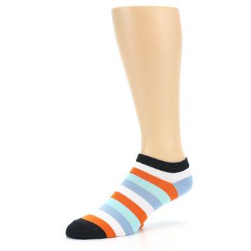 Image of Orange Blues Stripe Men's Ankle Socks (side-2-09)