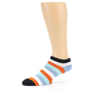 Image of Orange Blues Stripe Men's Ankle Socks (side-2-10)