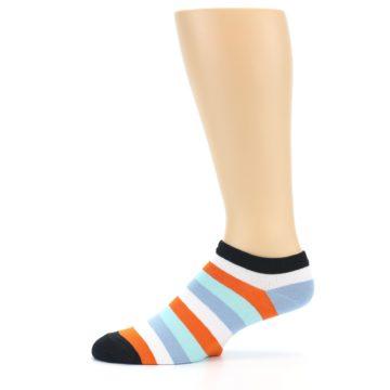 Image of Orange Blues Stripe Men's Ankle Socks (side-2-11)
