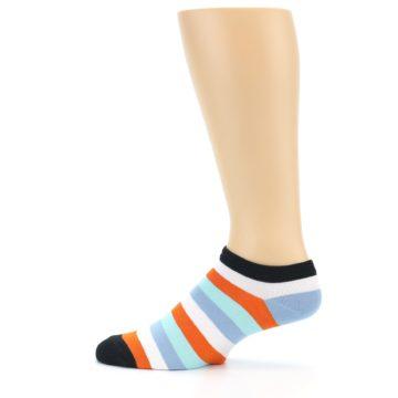 Image of Orange Blues Stripe Men's Ankle Socks (side-2-12)