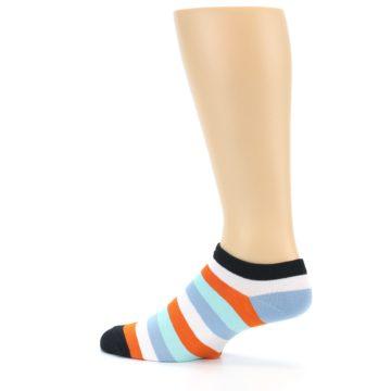 Image of Orange Blues Stripe Men's Ankle Socks (side-2-13)