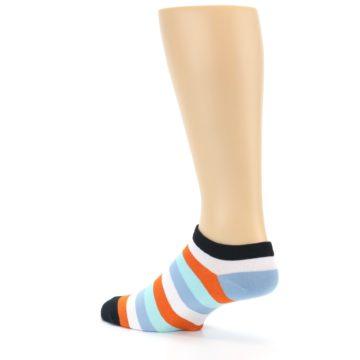 Image of Orange Blues Stripe Men's Ankle Socks (side-2-back-14)