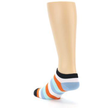 Image of Orange Blues Stripe Men's Ankle Socks (side-2-back-15)