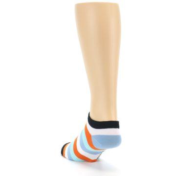 Image of Orange Blues Stripe Men's Ankle Socks (side-2-back-16)