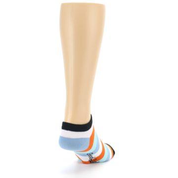 Image of Orange Blues Stripe Men's Ankle Socks (side-1-back-20)