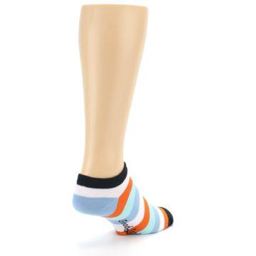 Image of Orange Blues Stripe Men's Ankle Socks (side-1-back-21)