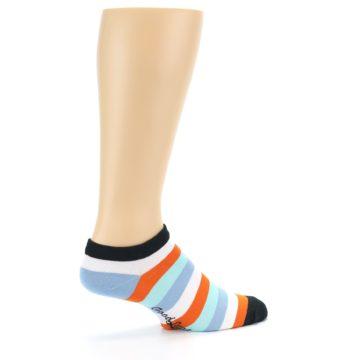 Image of Orange Blues Stripe Men's Ankle Socks (side-1-23)