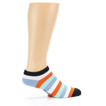 Image of Orange Blues Stripe Men's Ankle Socks (side-1-24)