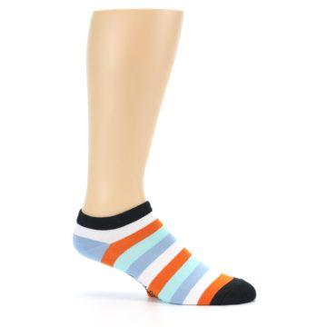 Image of Orange Blues Stripe Men's Ankle Socks (side-1-25)