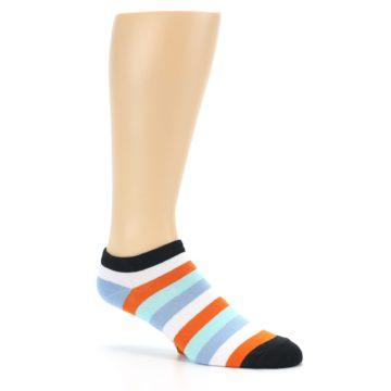 Image of Orange Blues Stripe Men's Ankle Socks (side-1-26)